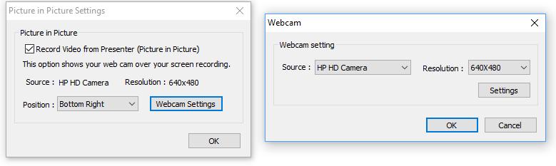 Kuva asetusikkunoista, jossa säädetään kamerat.