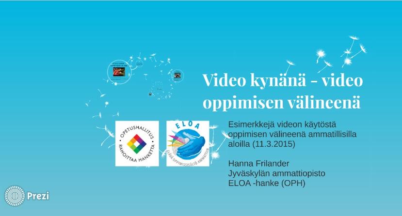 video oppimisen välineenä