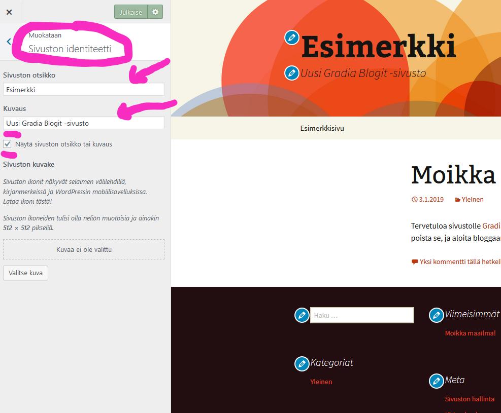 Näkymä valikosta, jossa voi tehdä sivuston identiteettiä koskevia muutoksia.
